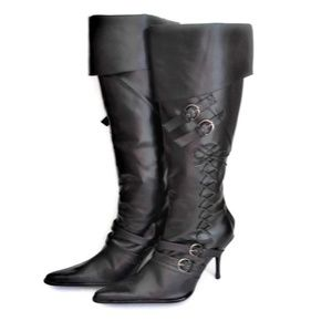 Shoes - Black Over Knee High Boots High Heels Womens 10